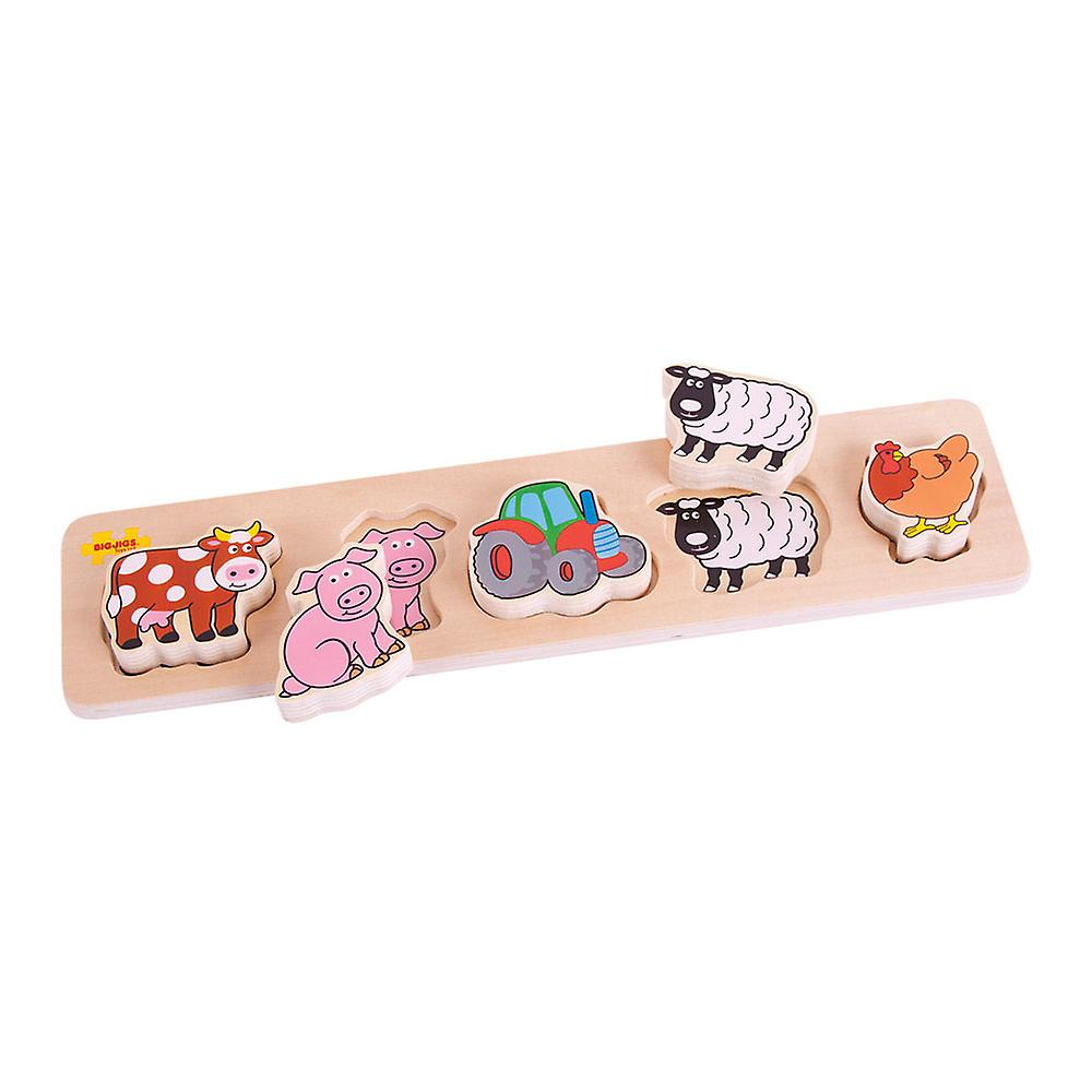 Bigjigs Toys Chunky Wooden Lift and Match Farm Jigsaw Puzzle