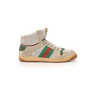 Gucci Beige Nylon Hi Top Sneakers