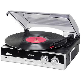 Groov-e serii Retro Vinyl Record Player z wbudowanym głośnikiem - czarny GVTT01/BK