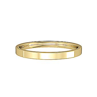 Jewelco London 9ct Yellow Gold - 2mm Essential Flat-Court Band Commitment / Wedding Ring