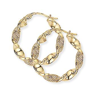 Jewelco London Ladies 9ct Giallo Oro Mesh Candy Twist Nastro Hoop Orecchini 22mm