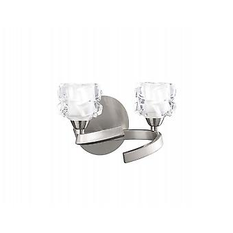 Mantra Ice Wall Lamp Switched 2 Light G9 ECO, Satin Nickel