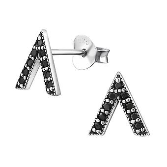 Triangle - 925 Sterling Silver Cubic Zirconia Ear Studs - W30809X