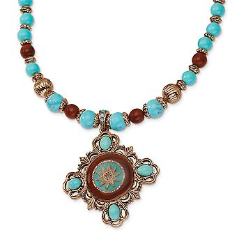 Fancy Lobster Closure Copper-tone Aqua and Brown Beads Enameled 16inch With Ext Necklace