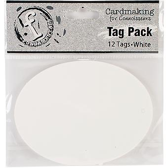 Fundamentals Tags 12/Pkg-Large Oval/White FNT99