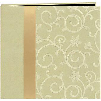Scroll Embroidery Fabric Postbound Album With Ribbon 12