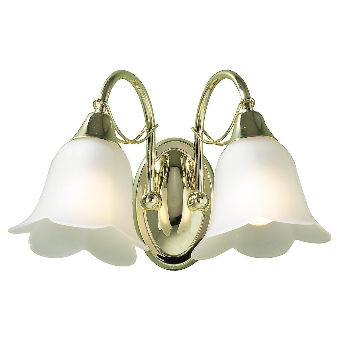 Dar DOU09 Doublet Traditional Switched Double Wall Light With Opaque Glass