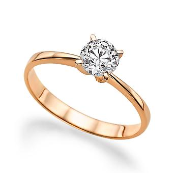 1/2 Carat H SI2 Diamond Engagement Ring 14k Rose Gold Classic Ring Vintage Ring Round Brilliant