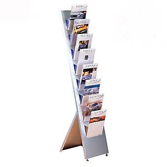 8 poche A4 incliné Brochure Stand - Floor Standing