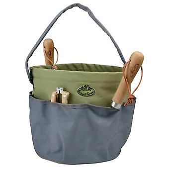 Fallen Fruits Round Garden Tool Bag in Green and Grey