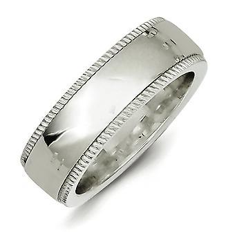 彫刻用 7 mm Millgrain 慰めラウンド Milgrain の半分を洗練されたスターリングシルバー固体フィット バンド リング - 指輪のサイズ: 13.5 4