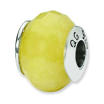 Sterling Silver Polished Antique finish Reflections Yellow Quartz Stone Bead Charm