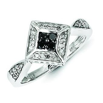Sterling Silver Black and White Diamond Ring - Ring Size: 6 to 8