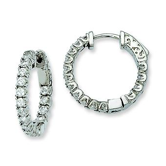 Sterling zilveren Rhodium Plated met CZ scharnierend Hoop Earrings Hoop Earrings