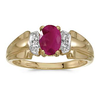 14k Yellow Gold Oval Ruby And Diamond Ring