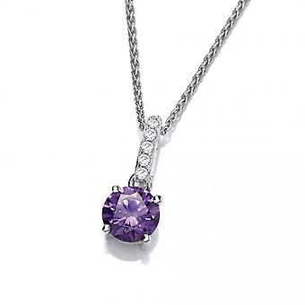 Cavendish French Round Amethyst Cubic Zirconia Drop Pendant