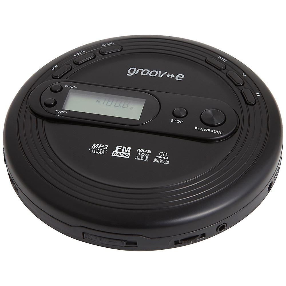 Groov-e Retro Series Personal CD Player + Radio MP3 Playback and Earphones - Black