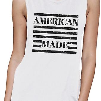 American Made Womens Cotton Muscle Tee Cute 4th Of July Design