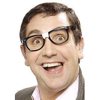 Streber-Brille Schwarz mit Pflaster