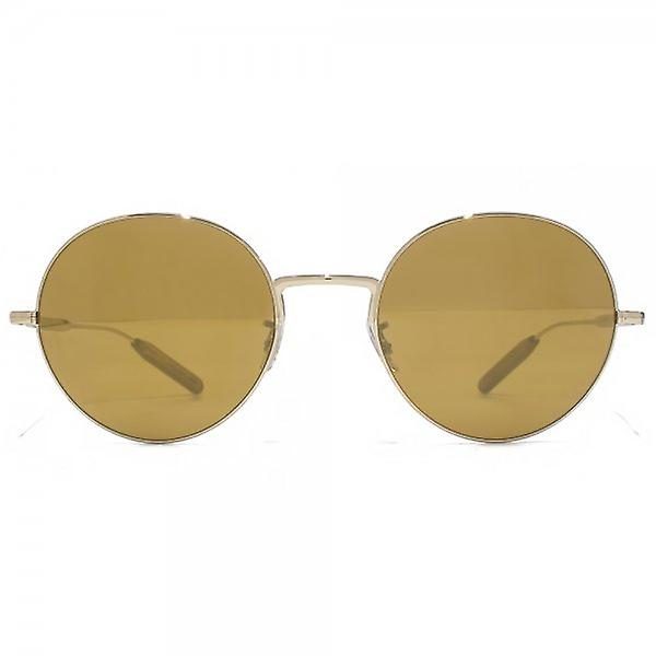Paul Smith Clarefield Round Sunglasses In Soft Gold Brown Gold Mirror