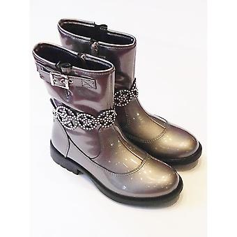 Lelli Kelly Girls Pewter Coloured Patent 3/4 Length Boots | Ann