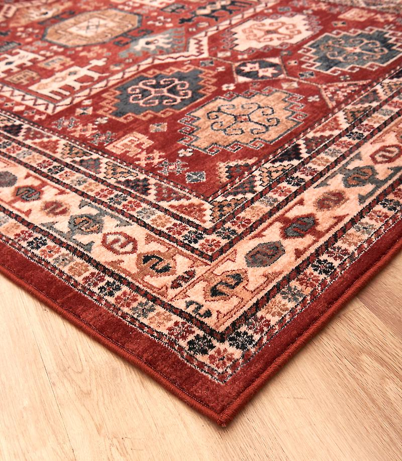 Kashqai 4306-300 Shades of red, russet, yellow and green Rectangle Rugs Traditional Rugs