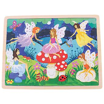 Bigjigs Toys Enchanted Fairies Wooden Tray Puzzle for Children - 35 Piece Puzzle