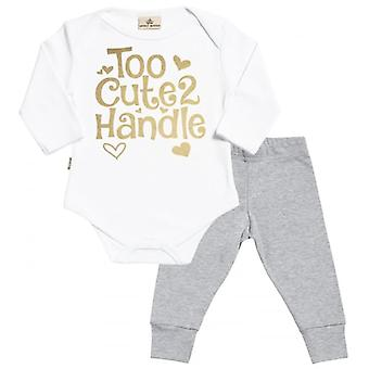 Spoilt Rotten Too Cute 2 Handle Babygrow & Jersey Trousers Outfit Set