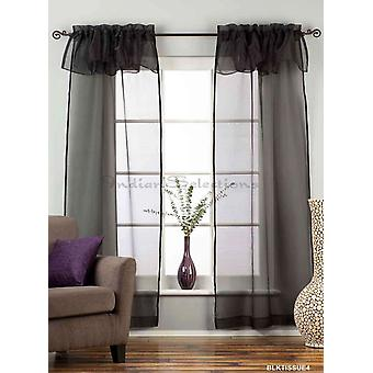 Black Rod Pocket w/ attached Valance Sheer Tissue Curtains - Piece