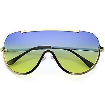 Oversize halb randlose Shield Sonnenbrille mit Metall schneiden Gradient farbige Linse Mono 65mm