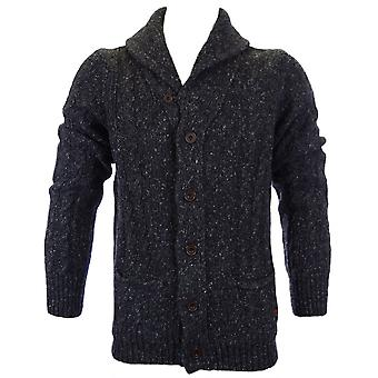 Franklin & Marshall Funnel Neck Wool Black Melange Cardigan