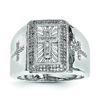 Sterling zilveren gepolijste Rhodium-plated Rhodium Plated Diamond Kruis Mens Ring - Ringmaat: 9 t/m 11