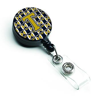 Letter T Football Blue and Gold Retractable Badge Reel