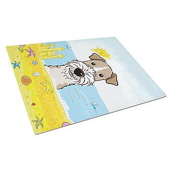 Wire Haired Fox Terrier sommer stranden Glass skjærebrett store