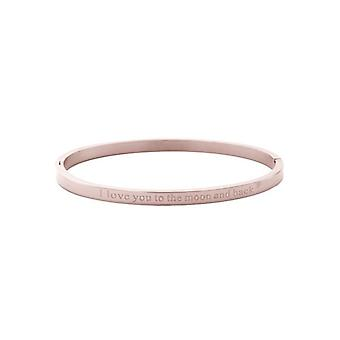 Minimalist chic bangle armband 'to the moon and back' rosé goudkleurig