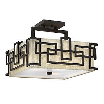 HK/LANZA/SF Lanza 3 Light Bronze Semi Flush Ceiling Light with Shade