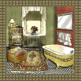 Bathroom In Green IV Poster Print by Lenny Karcinell (12 x 12)