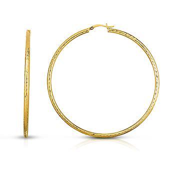 10k Fine Yallow Gold Diamond Cut Hoop Earrings  2.5mm(0.10