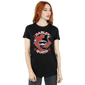 DC Comics Women's Chibi Harley Quinn Badge Boyfriend Fit T-Shirt