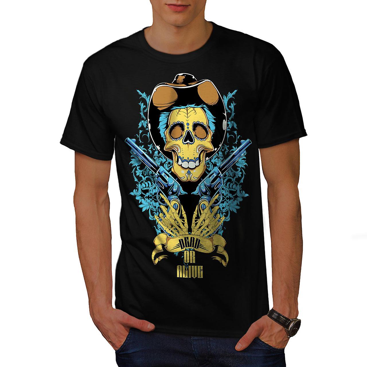 Dead Or Alive Gun Skull Men Black T-shirt | Wellcoda