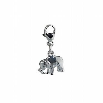 Silver 20x10mm Indian Elephant Charm on lobster trigger