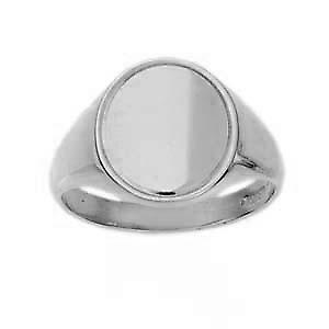 Silver 15x13mm engine turned line edge border solid oval Signet Ring Size X