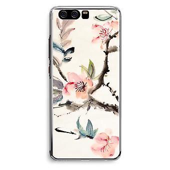 Huawei P10 Transparent Cover (Soft) - Japenese flowers