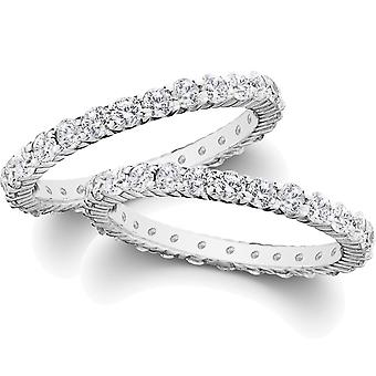 2ct Diamond Eternity Stackable Wedding Rings Set 14K White Gold