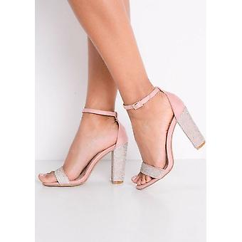 Diamante Embellished Faux Suede Strappy Block Heeled Sandals Pink
