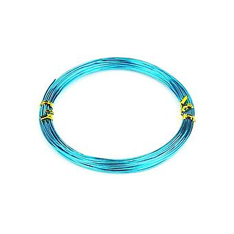 1 x Turquoise/Blue Plated Aluminium 1.5mm x 10m Round Craft Wire Coil HA16035