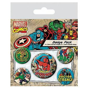 MARVEL RETRO SPIDERMAN Pack of Official Badges 5 Pin Badge Set