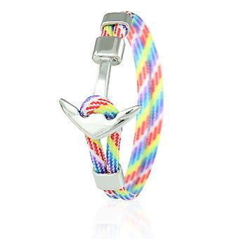 Skipper Anker Armband 21 cm Nylon Armschmuck mehrfarbig mit Silbernem Anker 6969