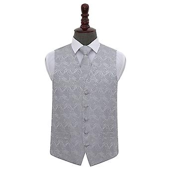 Sølv Paisley bryllup vest & Tie sett