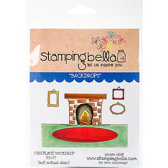 Stamping Bella Cling Stamps-Fireplace Backdrop